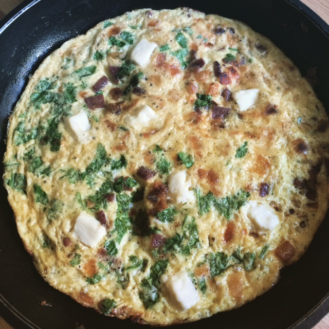 Salami and Cream Cheese Frittata